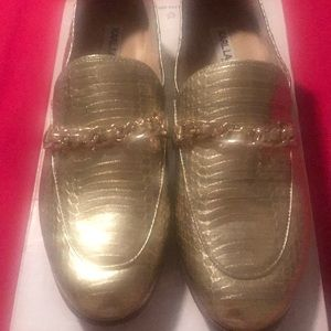 Karl Lagerfeld gold loafers